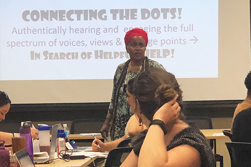 "Hazel Symonette leads ""Connecting the Dots!"" clinic"